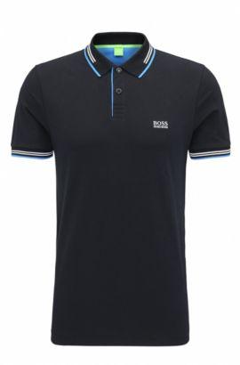 Slim-Fit Poloshirt aus elastischer Baumwolle mit kontrastfarbener Einfassung, Schwarz