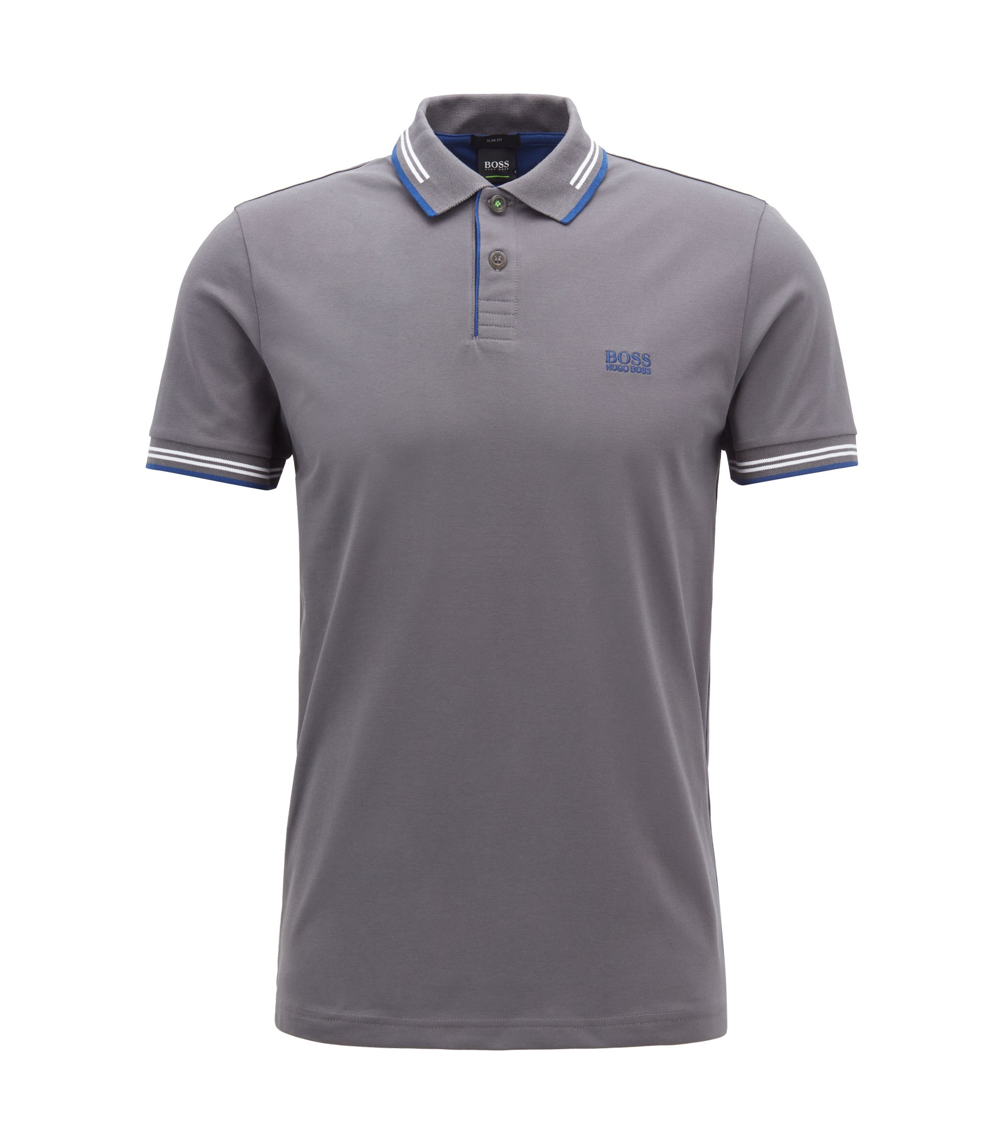 Slim-fit stretch-cotton polo shirt with contrast tipping, Dark Grey