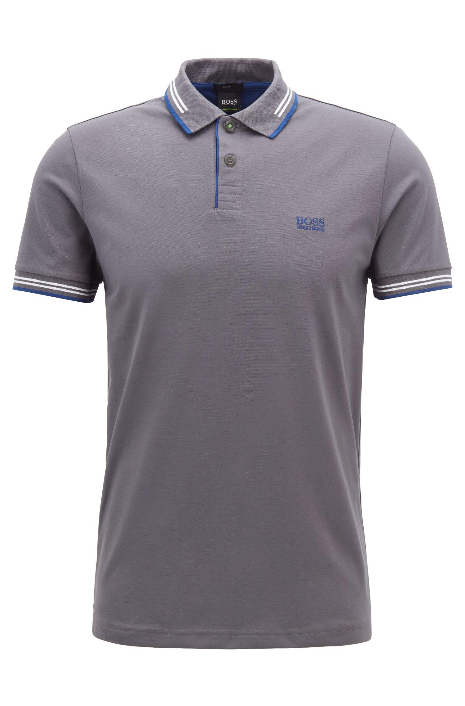 Slim-Fit Poloshirt aus elastischer Baumwolle , Dunkelgrau