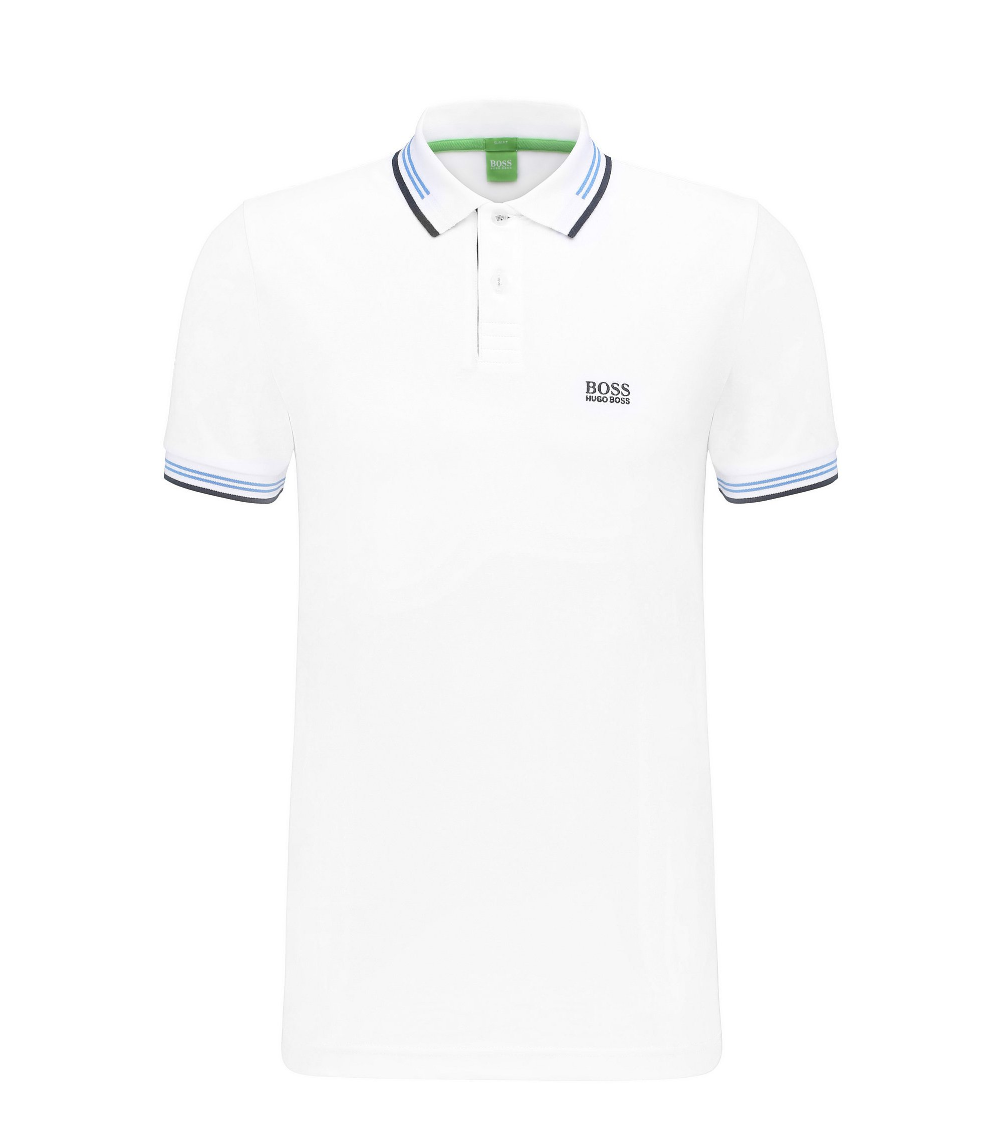 Slim-fit stretch-cotton polo shirt with contrast tipping, White