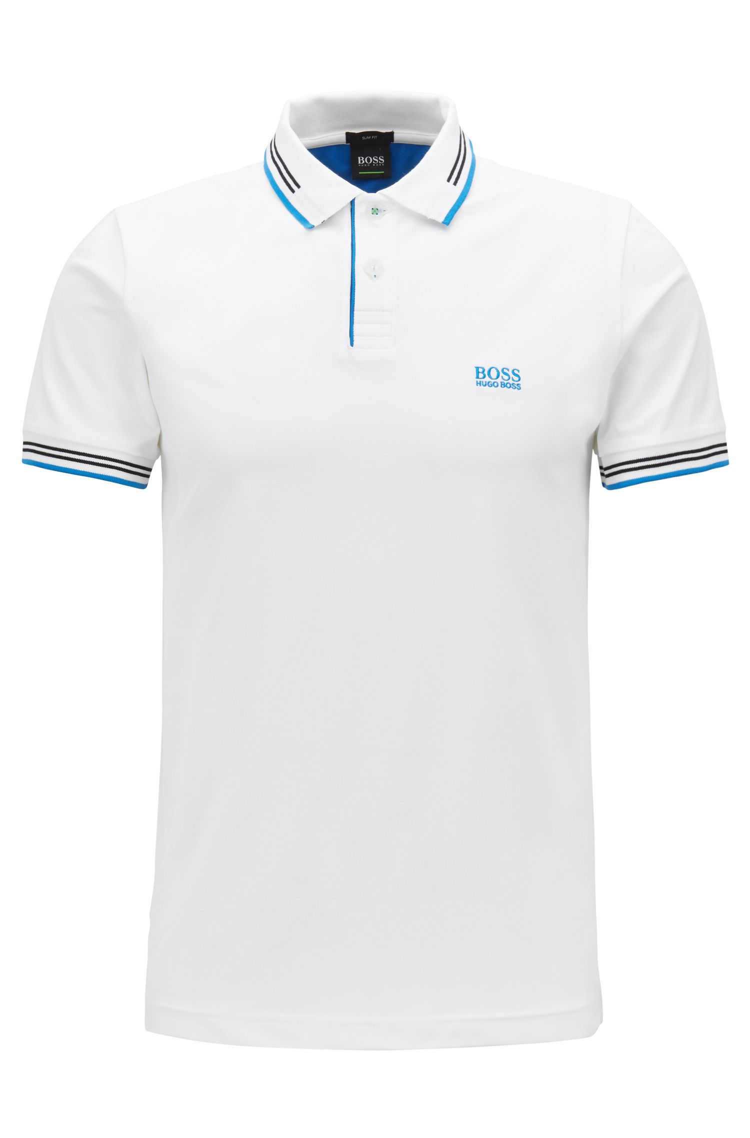 Polo Slim Fit en coton stretch avec bordure contrastante, Blanc