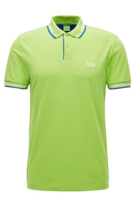 Slim-fit stretch-cotton polo shirt with contrast tipping, Light Green