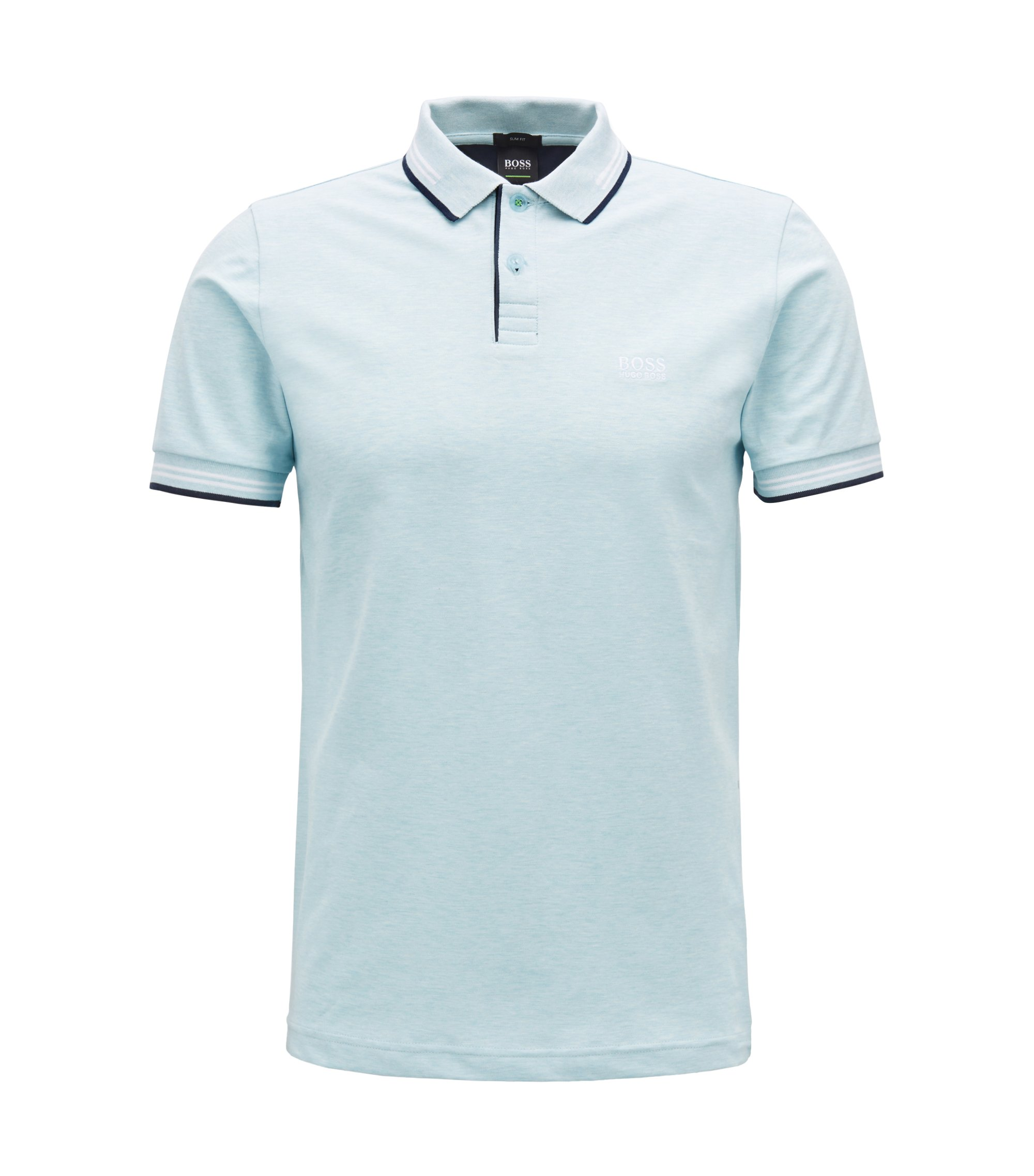 Polo Slim Fit en coton stretch avec bordure contrastante, Bleu vif