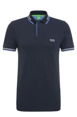 Polo slim fit in cotone elasticizzato con dettagli a contrasto, Blu scuro