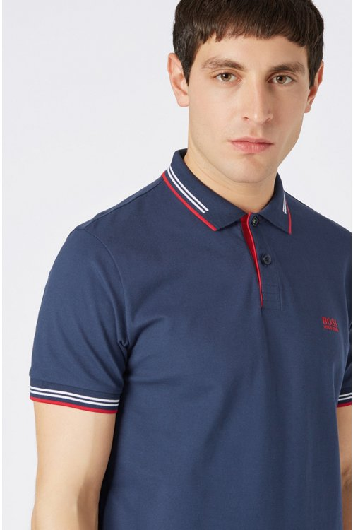 Hugo Boss - Slim-fit stretch-cotton polo shirt with contrast tipping - 4