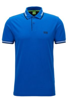 Polo Slim Fit en coton stretch avec bordure contrastante, Bleu