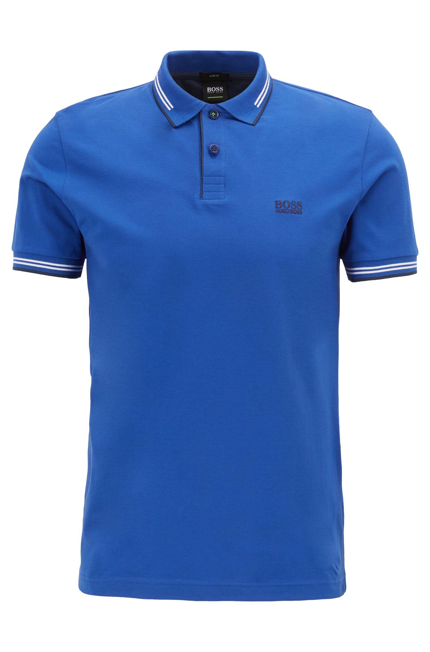 Polo Slim Fit en coton stretch avec bordure contrastante, Bleu