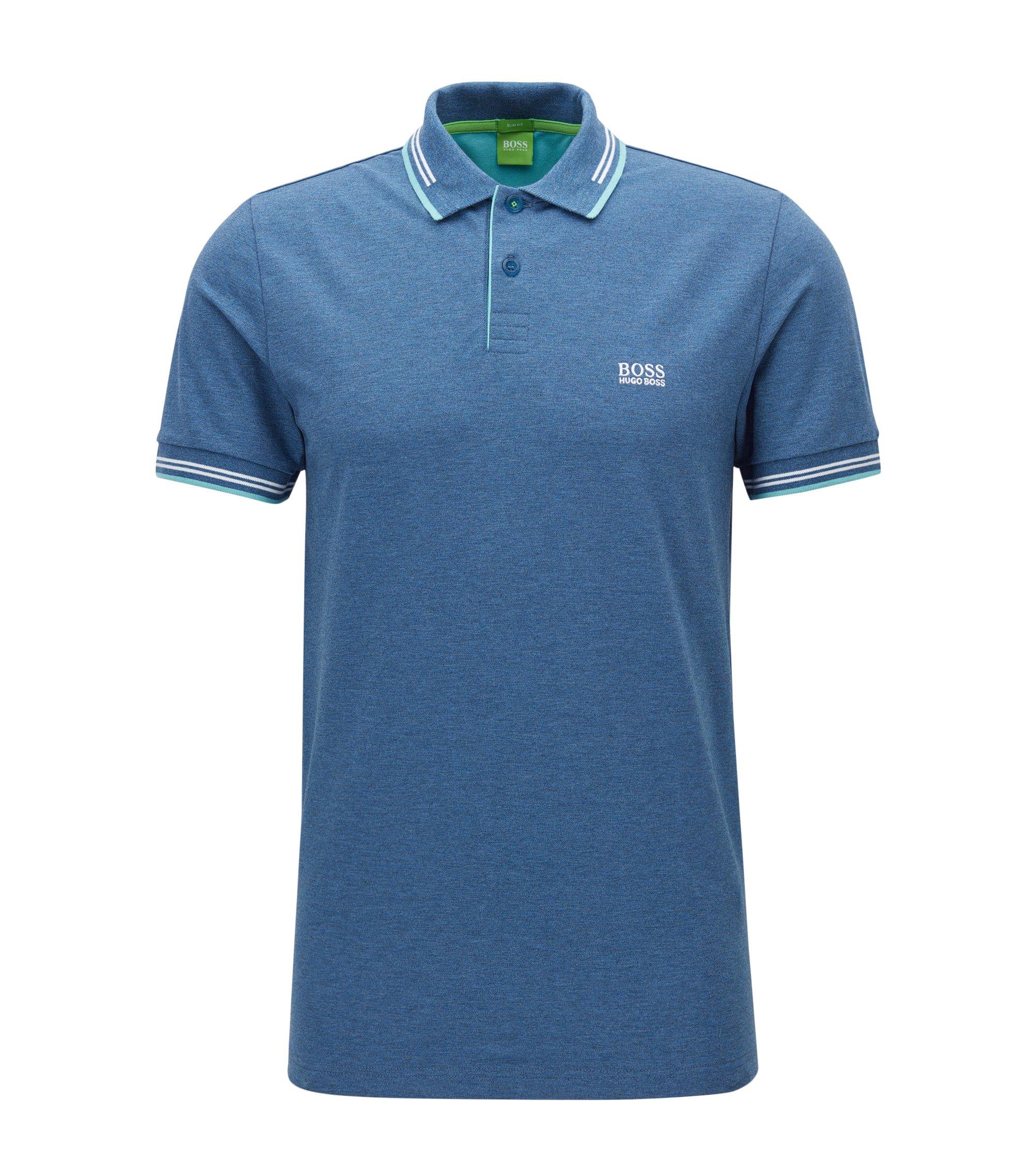 Slim-Fit Poloshirt aus elastischer Baumwolle , Dunkelblau