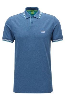 Polo Slim Fit en coton stretch avec bordure contrastante, Bleu foncé