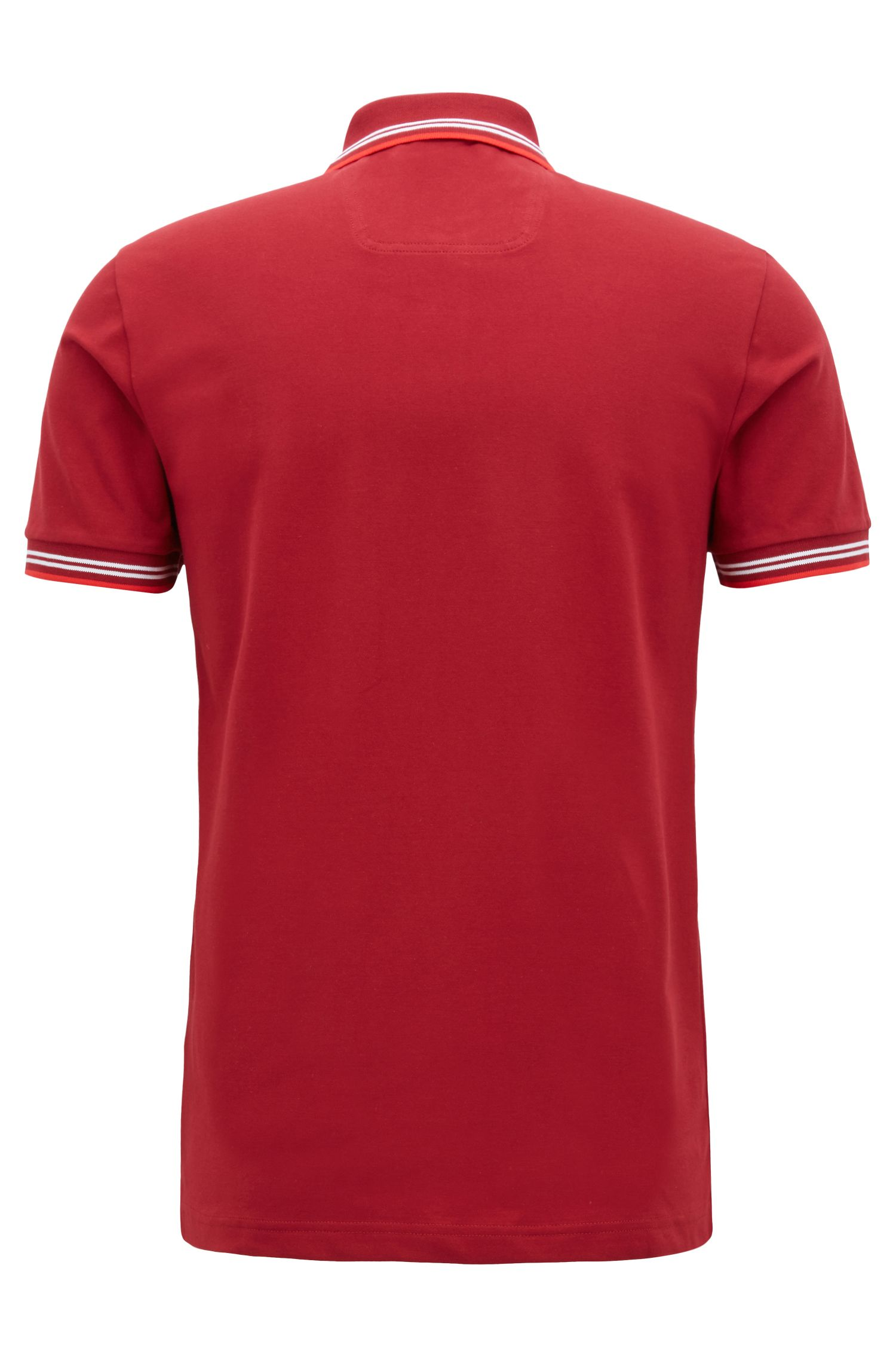 Slim-fit stretch-cotton polo shirt with contrast tipping, Red