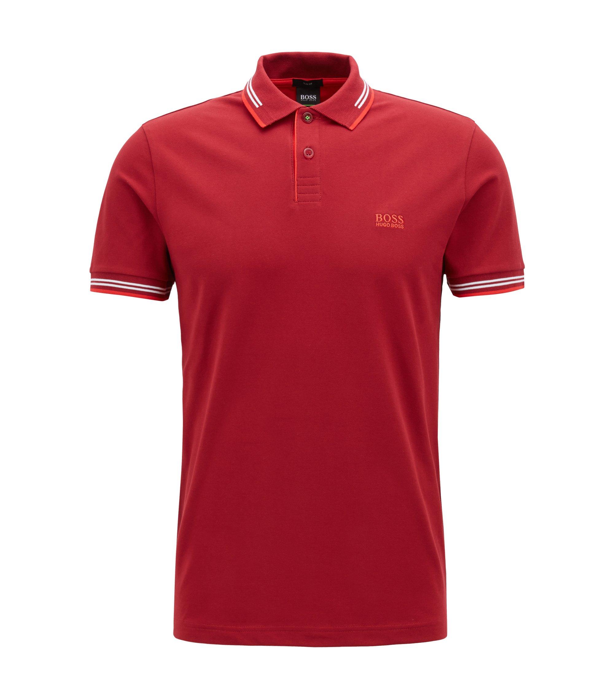 Slim-Fit Poloshirt aus elastischer Baumwolle , Rot