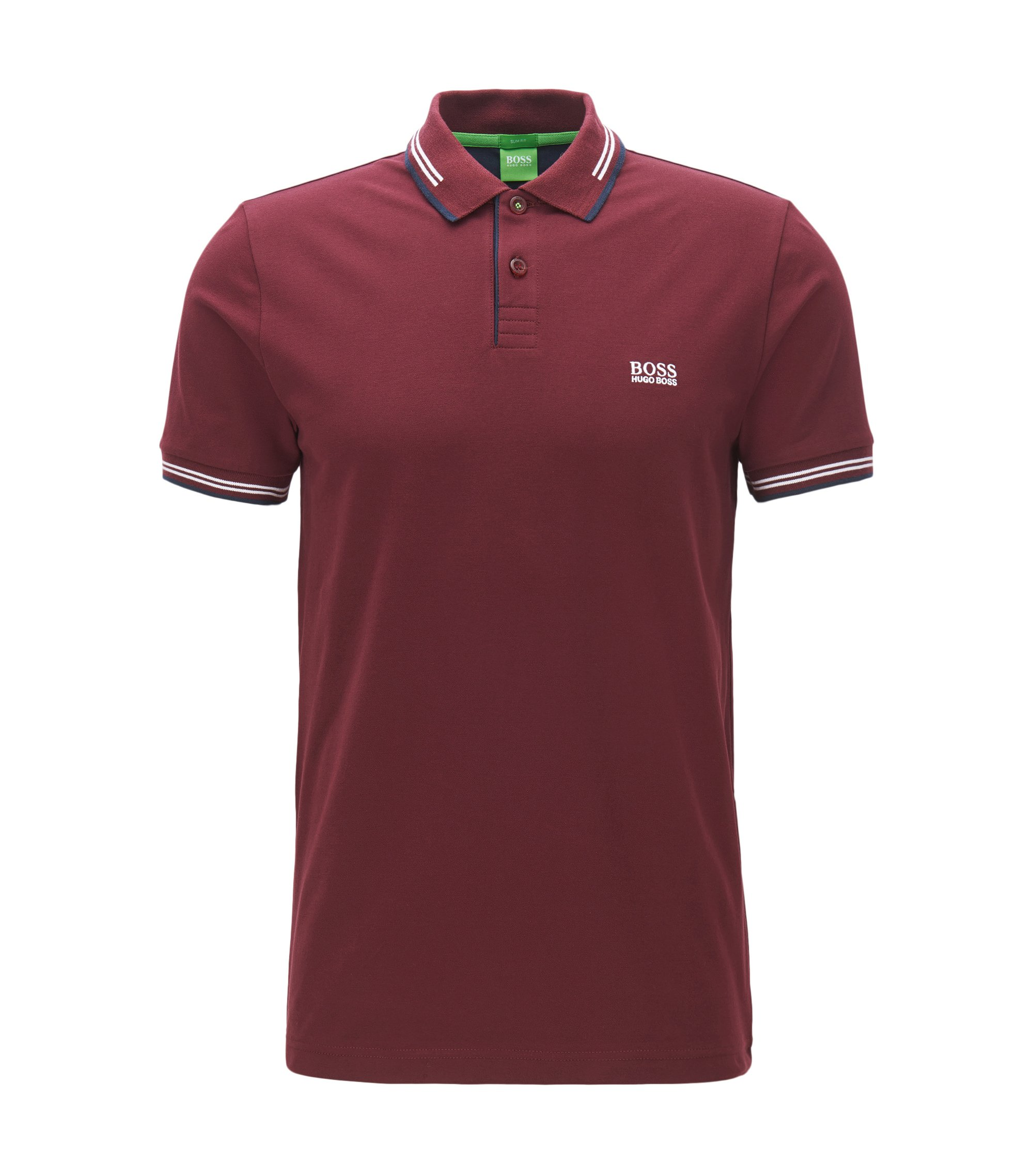 Polo Slim Fit en coton stretch avec bordure contrastante, Rouge sombre