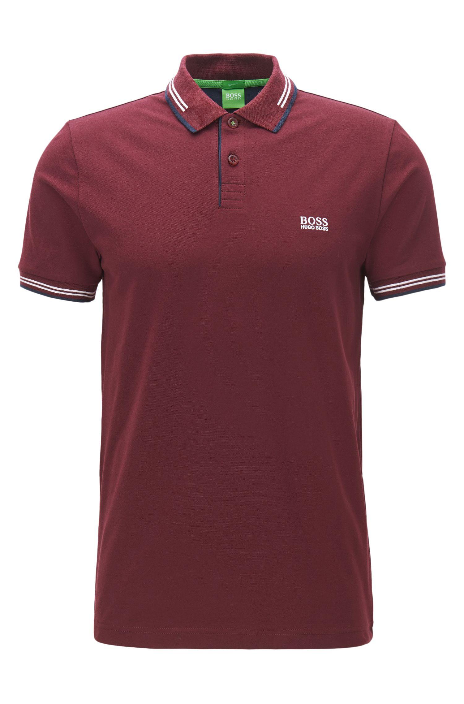 Polo Slim Fit en coton stretch avec bordure contrastante