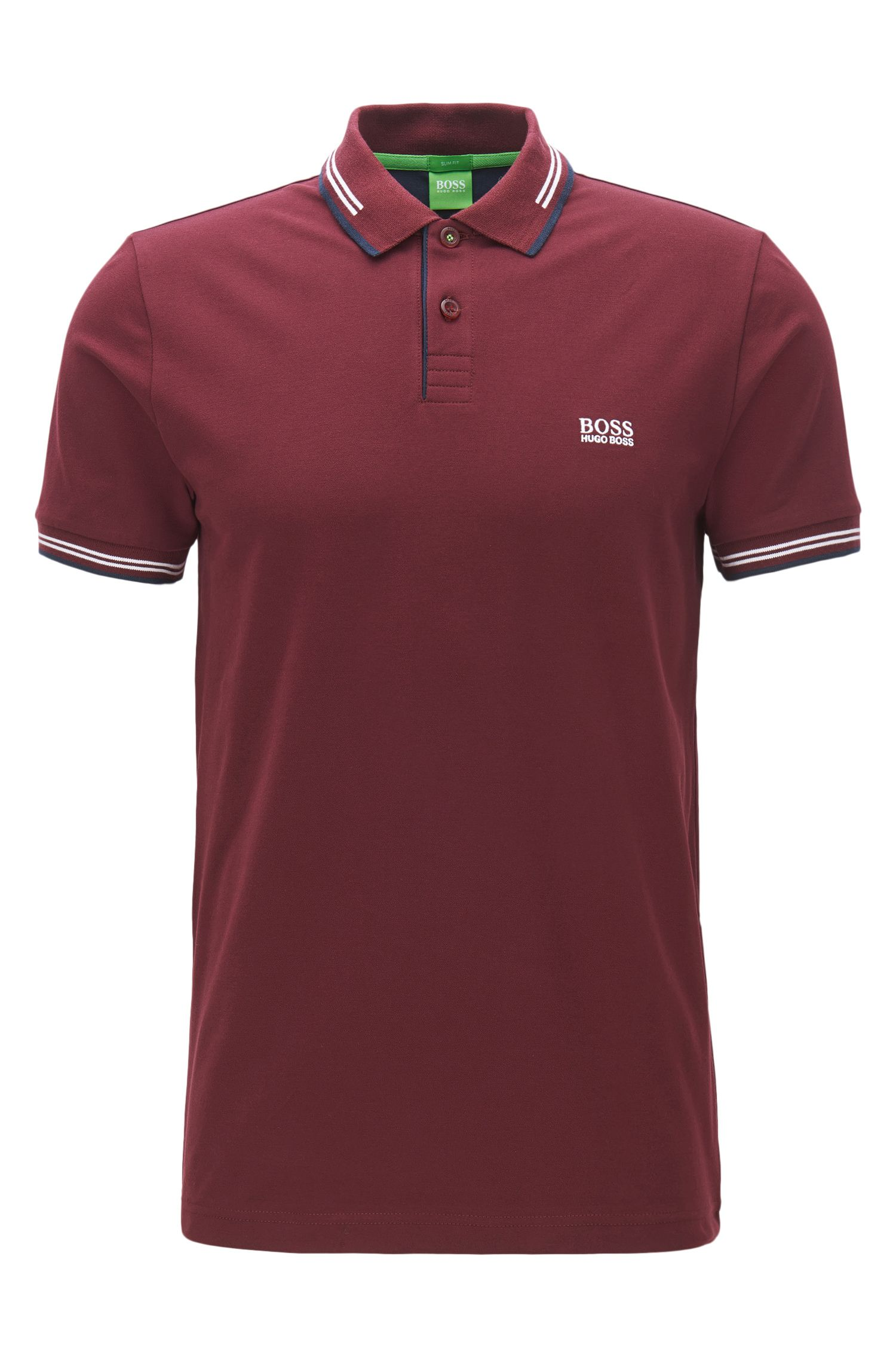 Polo Slim Fit en coton stretch avec bordure contrastante