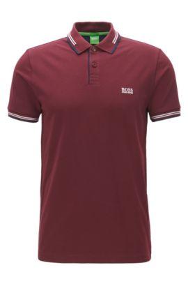 Polo Slim Fit en coton stretch avec bordure contrastante, Rouge sombre