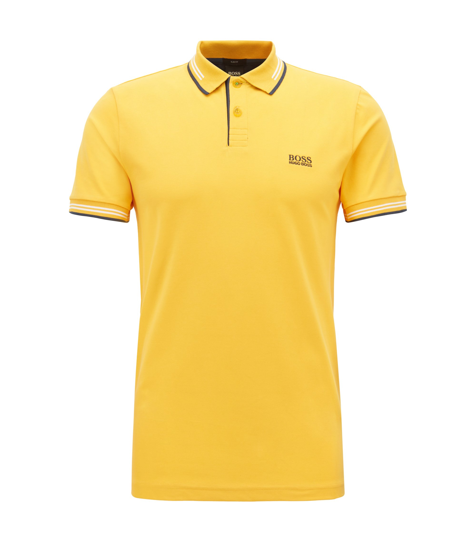 Slim-fit stretch-cotton polo shirt with contrast tipping, Yellow