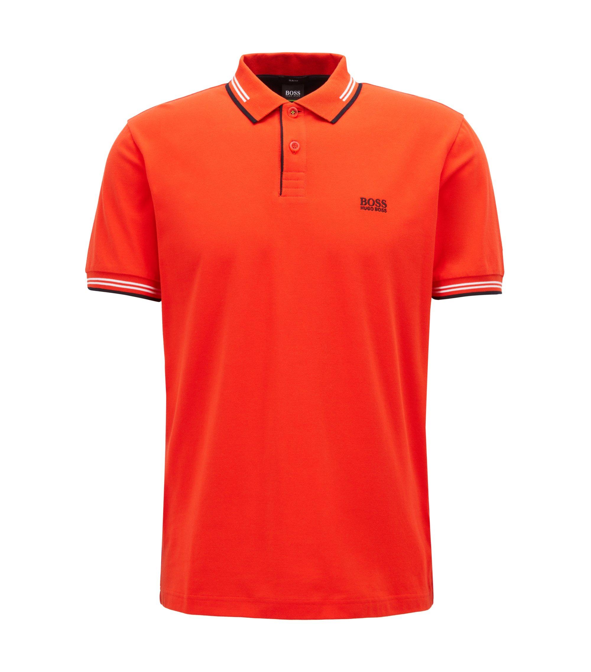Polo Slim Fit en coton stretch avec bordure contrastante, Orange foncé