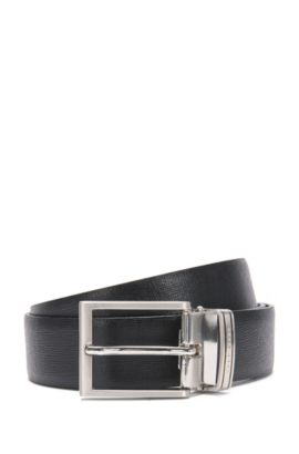 Reversible leather belt with interchangeable clasps: 'Gerwin_Gb35_ps', Black
