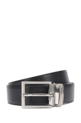 Cinturón reversible en piel con hebilla intercambiable: 'Gerwin_Gb35_ps', Negro