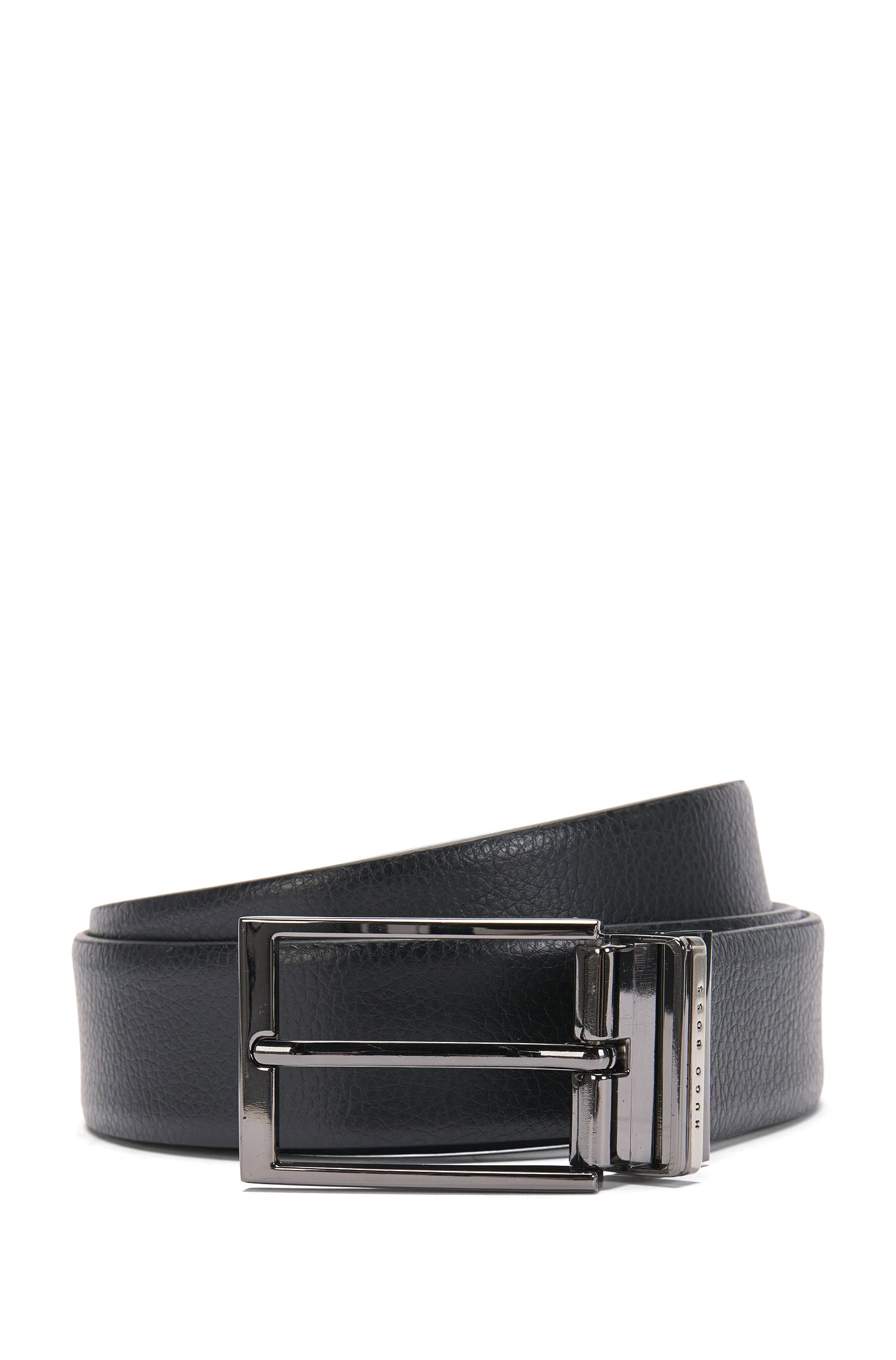 Reversible leather belt with interchangeable clasps: 'Gernot_Gb35_ps'