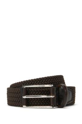 Braided belt with leather detailing: 'Clori-WS_Sz30_wn', Dark Brown