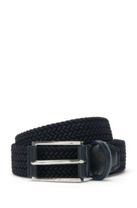 Braided belt with leather detailing: 'Clori-WS_Sz30_wn', Dark Blue