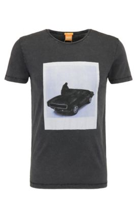 Slim-fit cotton t-shirt with photo print: 'Tasteful 1', Black