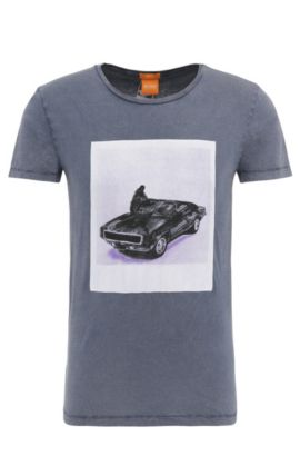 Slim-fit cotton t-shirt with photo print: 'Tasteful 1', Dark Blue