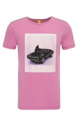 T-shirt slim fit in cotone con stampa: 'Tasteful 1', Rosa