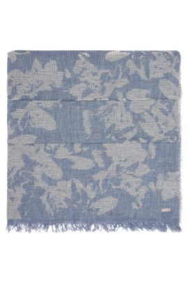Patterned woven scarf in cotton: 'Naflage', Dark Blue