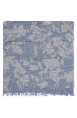 Gemusterter Web-Schal aus Baumwolle: ´Naflage`, Dunkelblau