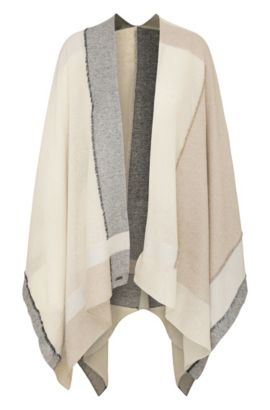 Poncho in a silk blend with cotton and a colour-block look: 'Nablock', Dark Blue