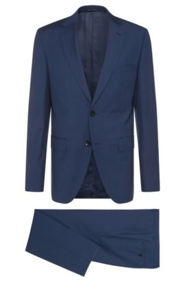 Finely striped regular-cut suit in new wool: 'Johnstons2/Lenon', Blue