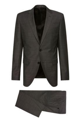 Regular-Fit Anzug aus strukturierter Schurwolle: 'Johnstons2/Lenon', Dunkelgrau