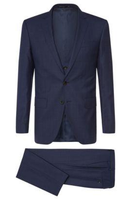 Slim-fit suit with waistcoat in new wool: 'Huge5/Genius3 WE', Dark Blue