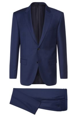 Traje regular fit a cuadros finos Tailored en lana virgen: 'T-Howard4/Court5', Azul oscuro