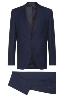 Regular-fit suit in new wool blend with linen and silk: 'Jewels1/Linus', Dark Blue