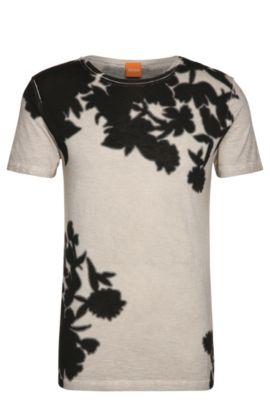 Garment dye-shirt van katoenen jersey: 'Trusted', Lichtgrijs