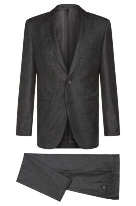 Slim-fit Tailored suit in new-wool blend with silk: 'T-Harvers2/Glover1', Black