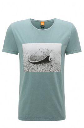Regular-fit T-shirt van katoen met fotoprint: 'Tasteful 2', Turkoois
