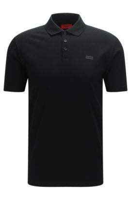 Piqué cotton polo shirt with reverse logo, Black