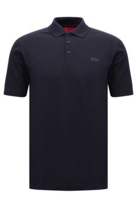 Piqué cotton polo shirt with reverse logo, Dark Blue