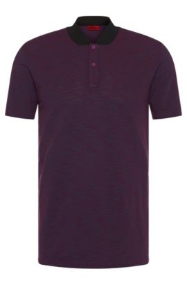 Mottled slim-fit polo shirt in pure cotton: 'Datherton', Purple