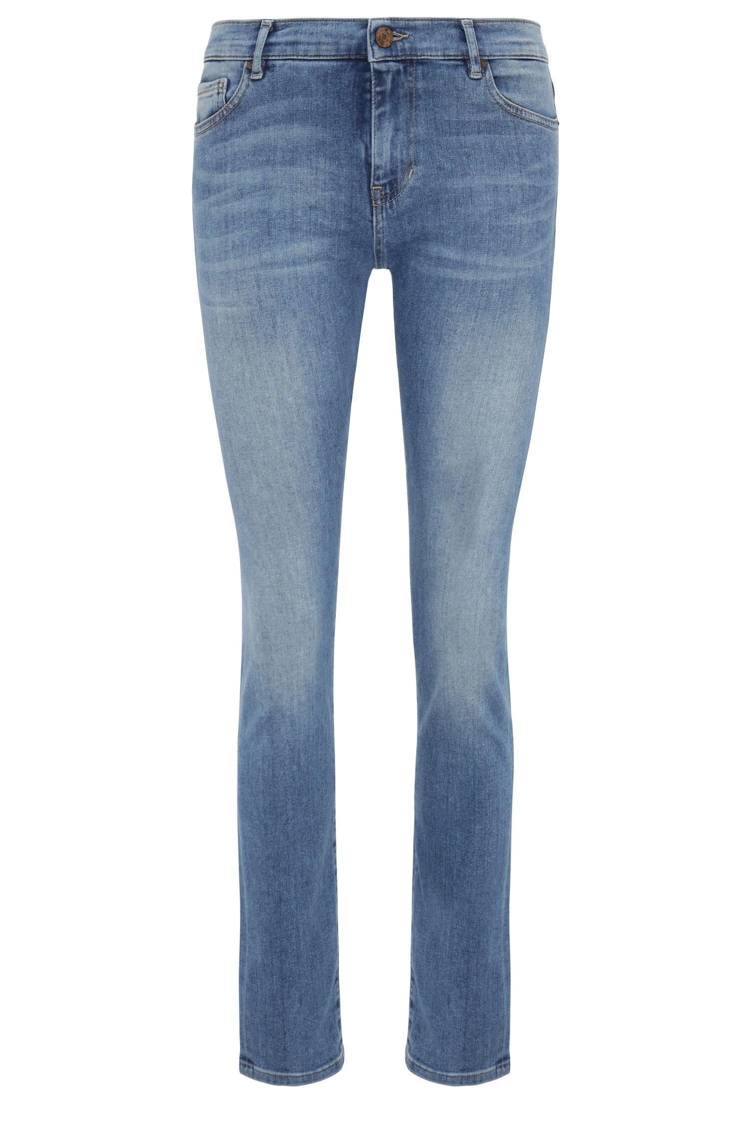 Jeans Slim Fit en coton extensible mélangé, à taille haute: «OrangeJ21»