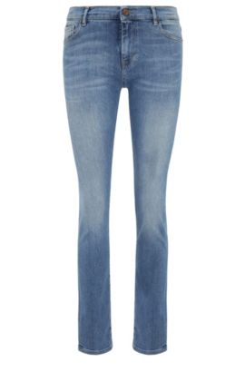 Slim-fit jeans in stretch cotton blend with a high waist: 'Orange J21', Blue