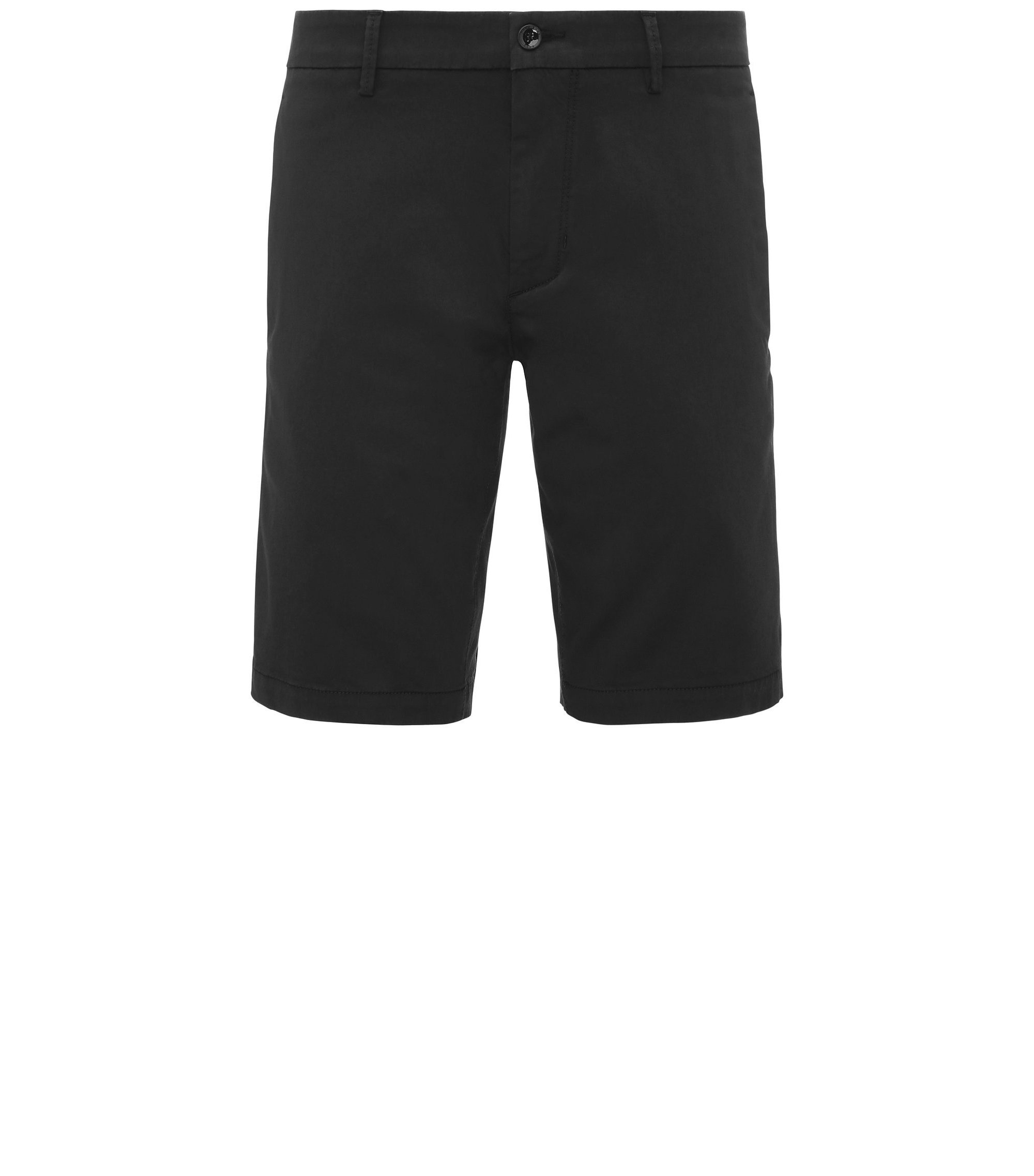 Slim-Fit Shorts aus Material-Mix, Schwarz