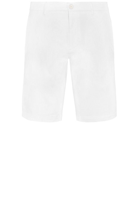 Slim-fit shorts in satin-effect fabric, White