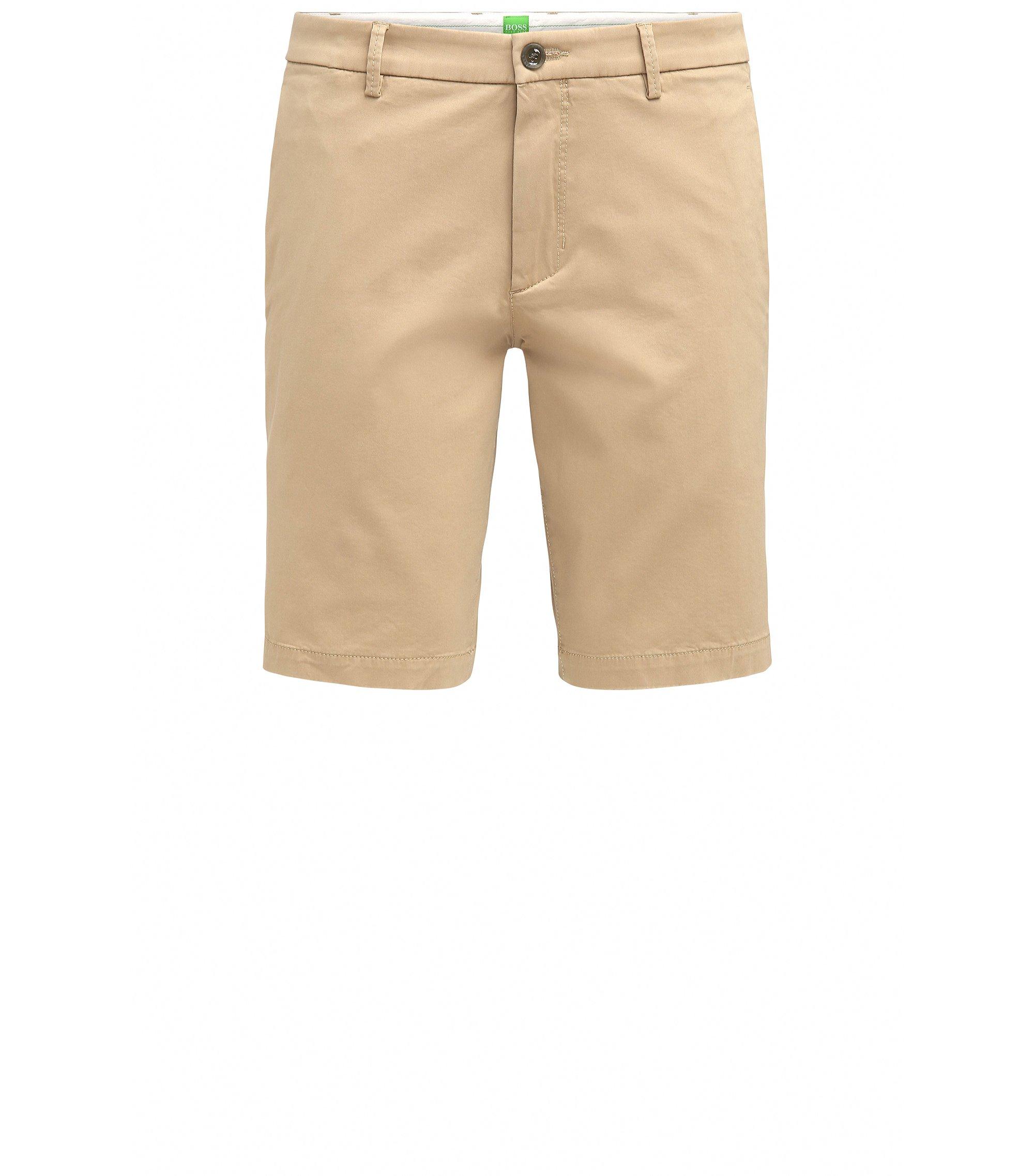 Slim-fit short van een stof met satijneffect, Beige