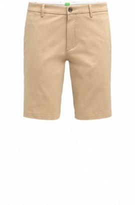 Slim-fit shorts in satin-effect fabric, Beige