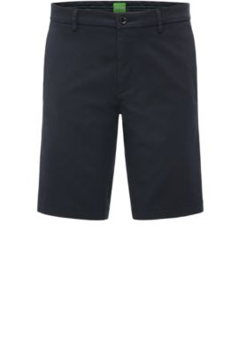 Slim-fit shorts in satin-effect fabric, Dark Blue